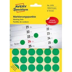 Kolorowe kółka do zaznaczania Avery Zweckform 1056 etyk./op., Ø18 mm, zielone