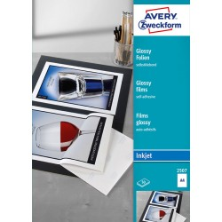 Błyszczące folie samoprzylepne A4, 50 szt./op., powlekane, grubość 0,2 mm, białe, wysokobłyszczące, Avery Zweckform