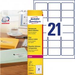 Etykiety adresowe przezroczyste Avery Zweckform A4, 25 ark./op., 63,5 x 38,1 mm