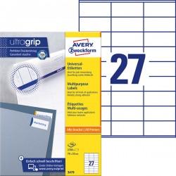 Trwałe etykiety uniwersalne Avery Zweckform A4, 100 ark./op., 70 x 32 mm, białe