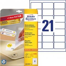 Usuwalne etykiety uniwersalne Avery Zweckform A4, 30 ark./op., 63,5 x 38,1 mm, białe