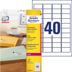 Etykiety adresowe przezroczyste Avery Zweckform A4, 25 ark./op., 45,7 x 25,4 mm