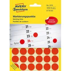 Kolorowe kółka do zaznaczania Avery Zweckform 1056 etyk./op., Ø18 mm, czerwone