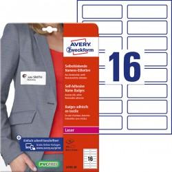 Samoprzylepne identyfikatory do zadruku Avery Zweckform A4, 20 ark./op., 88,9 x 31 mm, białe, sztuczny jedwab