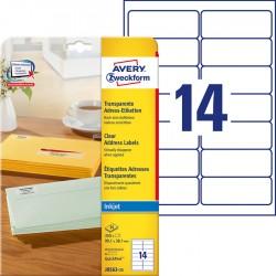 Etykiety adresowe przezroczyste Avery Zweckform A4, 25 ark./op., 99,1 x 38,1 mm