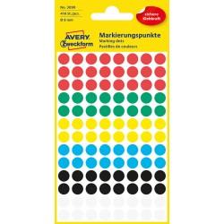 Kolorowe kółka do zaznaczania Avery Zweckform 416 etyk./op., Ø8 mm, mix kolorów