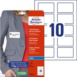 Samoprzylepne identyfikatory do zadruku Avery Zweckform A4, 20 ark./op., 80 x 50 mm, folia, białe