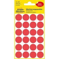 Usuwalne, kolorowe kółka do zaznaczania Avery Zweckform 96 etyk./op., Ø18 mm, czerwone