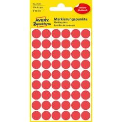 Kolorowe kółka do zaznaczania Avery Zweckform 270 etyk./op., Ø12 mm, czerwone