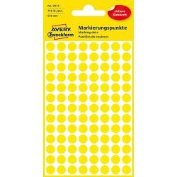 Kolorowe kółka do zaznaczania Avery Zweckform 416 etyk./op., Ø8 mm, żółte