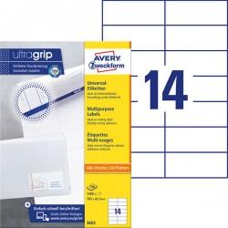 TrwaナF etykiety uniwersalne Avery Zweckform A4, 100 ark./op., 105 x 42,3 mm, biaナF
