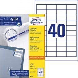 Trwałe etykiety uniwersalne Avery Zweckform A4, 100 ark./op., 48,5 x 25,4 mm, białe