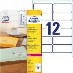 Etykiety adresowe przezroczyste Avery Zweckform A4, 25 ark./op., 99,1 x 42,3 mm