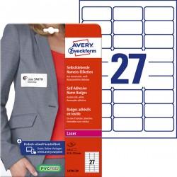 Samoprzylepne identyfikatory do zadruku Avery Zweckform A4, 20 ark./op., 63,5 x 29,6 mm, białe, sztuczny jedwab