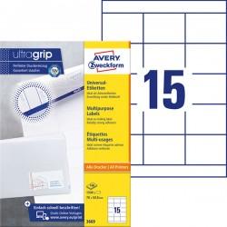 Trwałe etykiety uniwersalne Avery Zweckform A4, 100 ark./op., 70 x 50,8 mm, białe