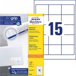 Trwałe etykiety uniwersalne Avery Zweckform A4, 100 ark./op., 64 x 50 mm, białe