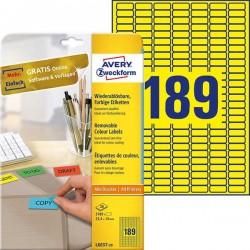 Etykiety usuwalne kolorowe Avery Zweckform A4, 20 ark./op., 25,4 x 10 mm, żółte