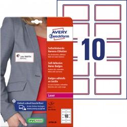 Samoprzylepne identyfikatory do zadruku Avery Zweckform A4, 20 ark./op., 80 x 50 mm, czerwona ramka, sztuczny jedwab