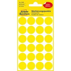 Usuwalne, kolorowe kółka do zaznaczania Avery Zweckform 96 etyk./op., Ø18 mm, żółte