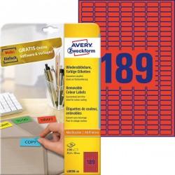 Etykiety usuwalne kolorowe Avery Zweckform A4, 20 ark./op., 25,4 x 10 mm, czerwone