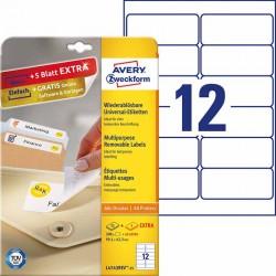 Usuwalne etykiety uniwersalne Avery Zweckform A4, 30 ark./op., 99,1 x 42,3 mm, białe