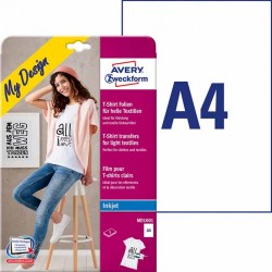 Folie do wprasowywania na jasne tkaniny A4, 5 ark./op., biaナF Avery Zweckform