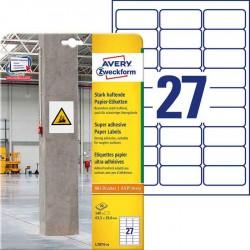 Etykiety papierowe do trudnych powierzchni Avery Zweckform, A4, 20 ark./op., 63,5 x 29,6 mm biaナF