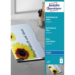Przezroczyste folie samoprzylepne A4, 50 szt./op., powlekane, gruboナ崙� 0,17 mm, Avery Zweckform
