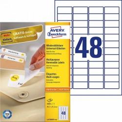 Usuwalne etykiety uniwersalne Avery Zweckform A4, 100 ark./op., 45,7 x 21,2 mm, biaナF