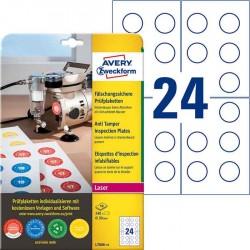 Tabliczki inspekcyjne plomby Avery Zweckform, A4, 10 ark./op., 240 et./op. Ø30mm białe