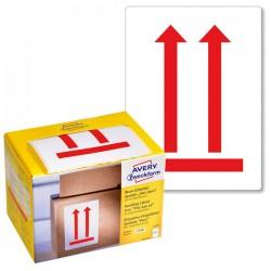 Ostrzegawcze etykiety wysyłkowe Avery Zweckform 'Tutaj góra' w dyspenserze 200 etyk./op., 74 x 100 mm, czerwone