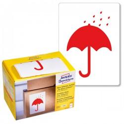 Ostrzegawcze etykiety wysyłkowe Avery Zweckform 'Chronić przed wilgocią' w dyspenserze 200 etyk./op., 74 x 100 mm, czerwone