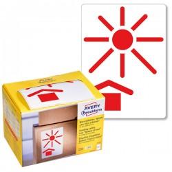Ostrzegawcze etykiety wysyłkowe Avery Zweckform 'Chronić przed nagrzewaniem' w dyspenserze 200 etyk./op., 74 x 100 mm, czerwone