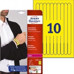 Opaski identyfikacyjne na nadgarstki do zadruku Avery Zweckform, A4, 10 ark./op., 265 x 18 mm, folia poliestrowa, żółte