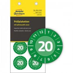 Tabliczki inspekcyjne winylowe 2020r. do opisu ręcznego Ø30 zielone, 80 sztuk Avery Zweckform