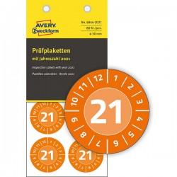 Tabliczki inspekcyjne winylowe 2021r. do opisu ręcznego Ø30 pomarańczowe, 80 sztuk Avery Zweckform