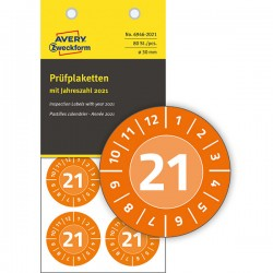 Tabliczki inspekcyjne No Peel 2021r. do opisu ręcznego Ø30 pomarańczowe, 80 sztuk Avery Zweckform