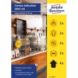 Zestaw etykiet ostrzegawczych Avery Zweckform - koronawirus usuwalne, Ø20 cm