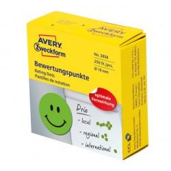 Kółka z symbolami do zaznaczania w dyspenserze 'Uśmiechnięta buźka', trwałe, 250 szt. / rolka, Ø19 mm, zielone, Avery Zweckform