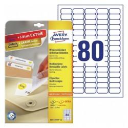 Usuwalne etykiety uniwersalne Avery Zweckform A4, 30 ark./op., 35,6 x 16,9 mm, białe