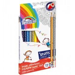 Kredki FIORELLO Super Soft 12 kol. + 2 gratis ostrz. trójkątna