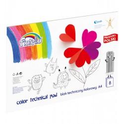 Blok techniczny kolorowy FIORELLO A4/8 kartek