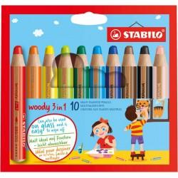 Stabilo woody 3 w 1 kredki etui 10 szt.
