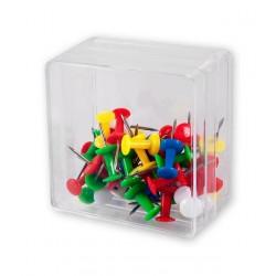Pinezki beczułki tablicowe Victory Office 40szt. mix kolorów pojemnik plastikowy