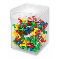 Pinezki beczułki tablicowe Victory Office 200szt. mix kolorów pojemnik plastikowy