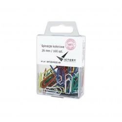 Spinacze biurowe Victory Office 26mm 100 szt. trテウjkト�tne mix kolorテウw pojemnik plastikowy zawieszany