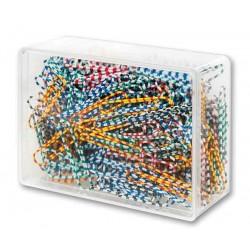 Spinacze biurowe Victory Office 50mm 250 szt. okrト�gナF zebra mix kolorテウw pojemnik plastikowy
