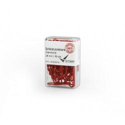 Spinacze biurowe Victory Office 28mm 50 szt. okrト�gナF powlekane czerwone pojemnik plastikowy