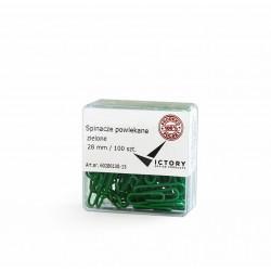 Spinacze biurowe Victory Office 28mm 100 szt. okrト�gナF powlekane zielone pojemnik plastikowy