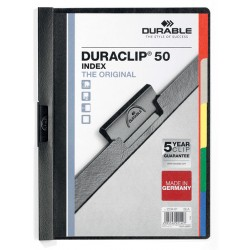 DURACLIP Original 50 Index, skoroszyt zaciskowy z 5 kol. przekナBdkami